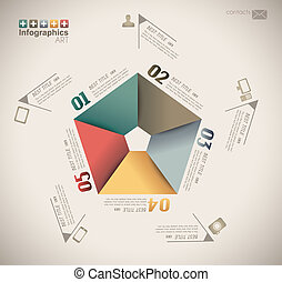Infographic design - original paper geometric shape with...