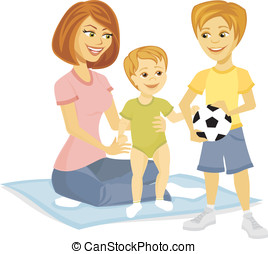 Smiling cartoon mother with baby and child - Smiling cartoon...