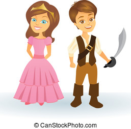 Cute cartoon princess and pirate kids - Cute cartoon...