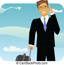 Cartoon image of a traveling business man on phone call in...