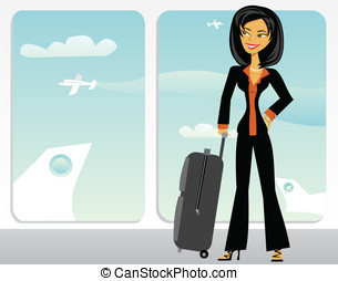 Cartoon Asian business woman in an airport