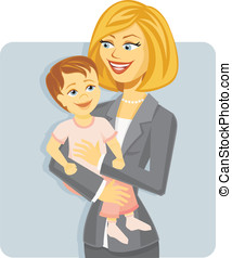 Cartoon Mother in Business Suit Holding Baby illustrating a...