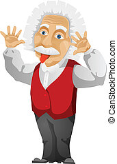 Einstein - Cartoon Character Einstein Isolated on White...