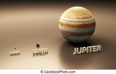 Planet Earth the Moon and Jupiter - A rendered...
