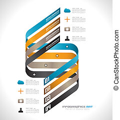 Infographic design template with paper tags. Idea to display...