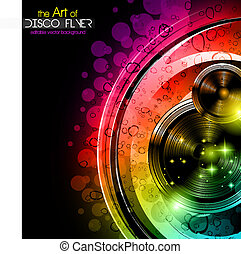 Disco club flyer with big speakers - Disco club flyer with a...