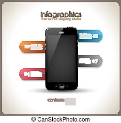Infographics Desgin template with phone - Infographics...