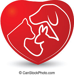 Cat, dog and rabbit in a heart logo