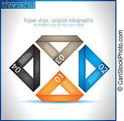 Paper ship origami infographics - An elegant way to show...