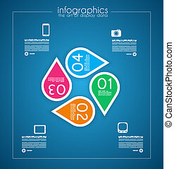 Infographic template design - Original geometric paper...