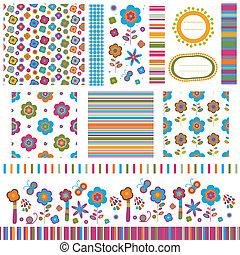 flower backgrounds - summer backgrounds, flower patterns set