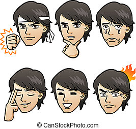 Handsome man emotion variation - Cartoon Handsome man...