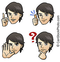 Handsome man facial expression - Cartoon Handsome man...