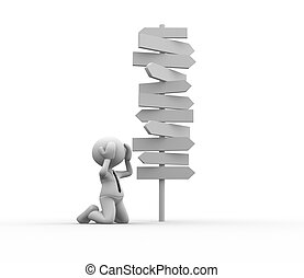 Road signs - 3d people - man, person standing in front of a...