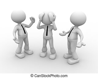 Businessman - 3d people - men, person talking with one...