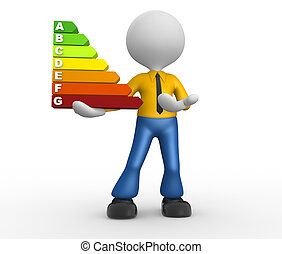 Energy chart - 3d people - man, person and a energy chart...