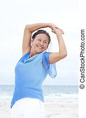 Portrait confident mature woman beach - Portrait Beautiful...