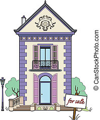 Small house for sale - Vector illustration of a small house