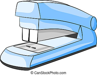 stapler - vector illustration of a blue stapler on white...