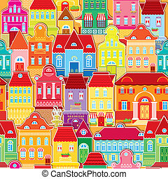 Seamless pattern with decorative colorful houses City...