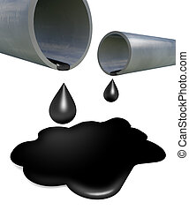 Metal pipes with spilled oil on white background