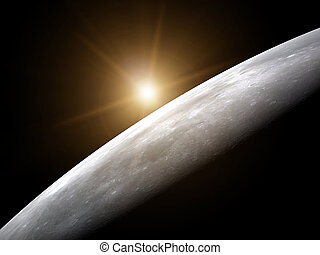 Surface of moon and yellow rising sun - 3d illustration