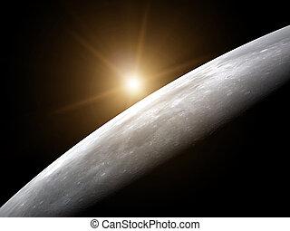 superfície, lua, amarela, Levantar, sol, -, 3D,...