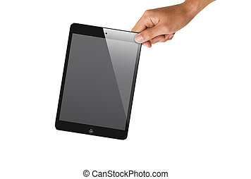hand holding ipad mini - a hand holding ipad mini at the...