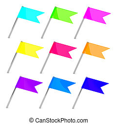 Set of color flag pins - isolated object