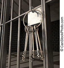 Jail Cell With Closed Door And Bunch Of Keys - A closeup of...