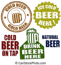 Cold beer stamps - Set of grunge rubber stamps, with the...
