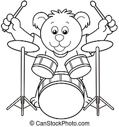 Cartoon Bear Playing Drums.black and white