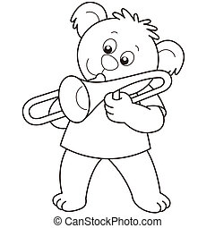 Cartoon Bear Playing a Trombone - Cartoon Bear playing a...