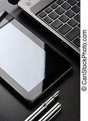 Laptop, tablet, fountain pen - Business still life: laptop,...