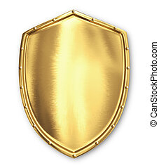 Gold shield  - 3d Gold shield isolated on white background