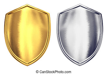 Two shield - Gold and steel shields isolated on white...