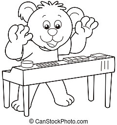 Cartoon Bear Playing an Electronic Organ - Cartoon Bear...