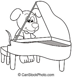 Cartoon Dog Playing a Pinao - Cartoon Dog playing a...