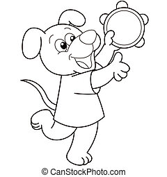 Cartoon Dog Playing a Tambourine - Cartoon Dog playing a...