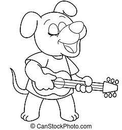 Cartoon Dog Playing a Guitar - Cartoon Dog playing a...