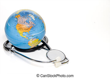 Medical World - A globe of the Earth and a medical...