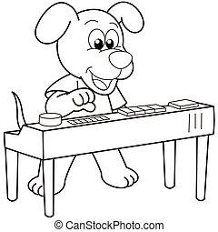 Cartoon Dog Playing an Electronic Organ - Cartoon Dog...