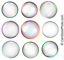 Soap bubbles - Set of colorful soap bubble isolated on white...