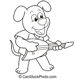 Cartoon Dog Playing an Electric Guitar - Cartoon Dog playing...