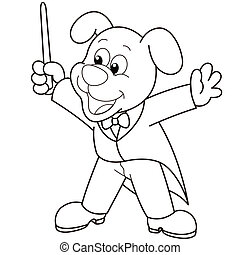 Cartoon Dog music conductorblack and white