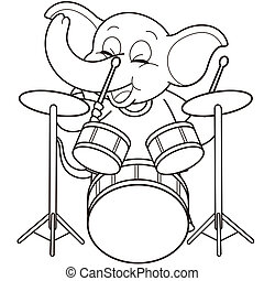Cartoon Elephant Playing Drums.black and white