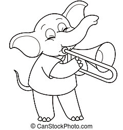 Cartoon Elephant Playing a Trombone - Cartoon Elephant...