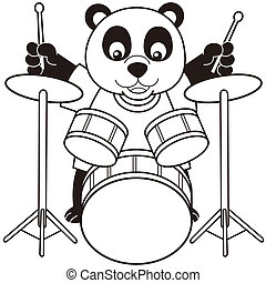 Cartoon Panda Playing Drumsblack and white