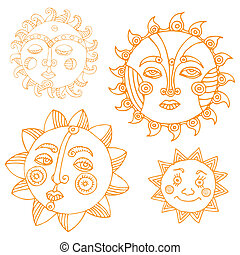 Variations of Sun on simple white background