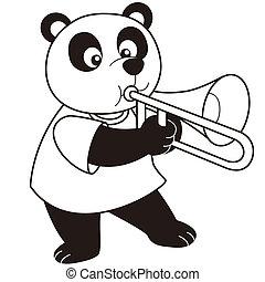 Cartoon Panda Playing a Trombone - Cartoon Panda playing a...